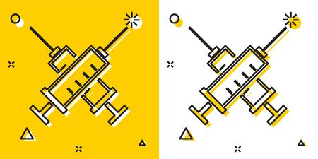 Black Crossed syringe icon isolated on yellow and white background. Syringe for vaccine, vaccination, injection, flu shot. Medical equipment. Random dynamic shapes. Vector Illustration