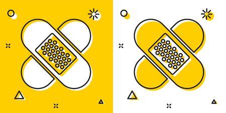 Black Crossed bandage plaster icon isolated on yellow and white background. Medical plaster, adhesive bandage, flexible fabric bandage. Random dynamic shapes. Vector Illustration