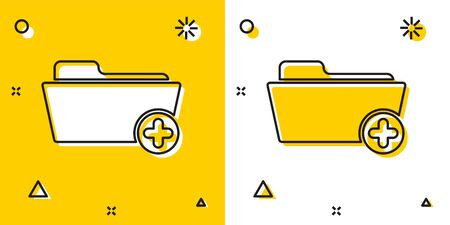 Black Medical health record folder for healthcare icon isolated on yellow and white background. Patient file icon. Medical history symbol. Random dynamic shapes. Vector Illustration