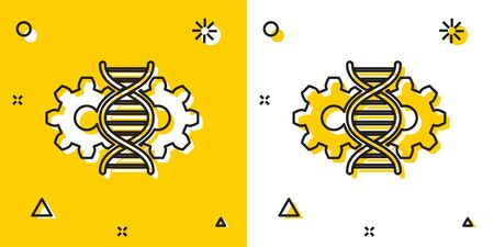 Black Gene editing icon isolated on yellow and white background. Genetic engineering. DNA researching, research. Random dynamic shapes. Vector Illustration Imagens - 129699036