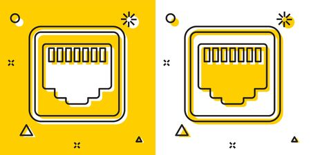 Black Network port - cable socket icon isolated on yellow and white background. LAN, ethernet port sign. Local area connector icon. Random dynamic shapes. Vector Illustration