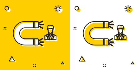 Black Customer attracting icon isolated on yellow and white background. Customer retention, support and service. Customer man attracting with magnet. Random dynamic shapes. Vector Illustration
