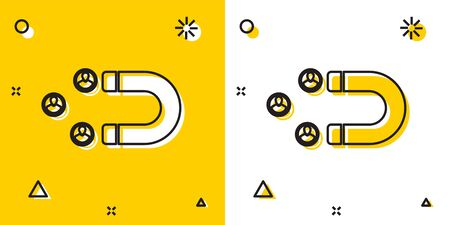 Black Customer attracting icon isolated on yellow and white background. Customer retention, support and service. Customer people attracting with magnet. Random dynamic shapes. Vector Illustration