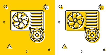 Black Air conditioner and gear icon isolated on yellow and white background. Adjusting app, service concept, setting options, maintenance, repair, fixing. Random dynamic shapes. Vector Illustration