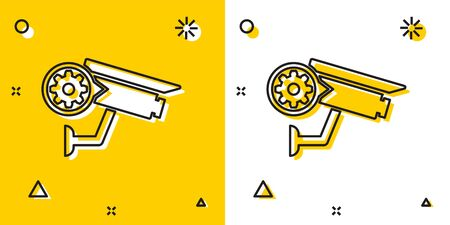 Black Security camera and gear icon isolated on yellow and white background. Adjusting app, service concept, setting options, maintenance, repair, fixing. Random dynamic shapes. Vector Illustration  イラスト・ベクター素材