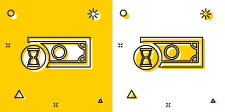Black Fast payments icon on yellow and white background. Fast money transfer payment. Financial services, fast loan, time is money, cash back concept. Random dynamic shapes. Vector Illustration Ilustração