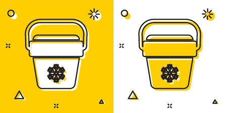 Black Cooler bag icon isolated on yellow and white background. Portable freezer bag. Handheld refrigerator. Random dynamic shapes. Vector Illustration Ilustrace