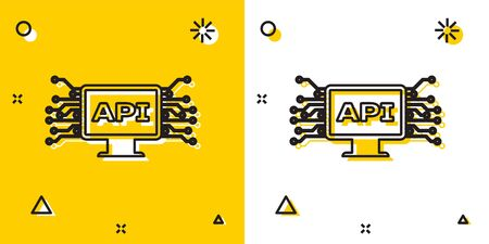 Black Computer api interface icon isolated on yellow and white background. Application programming interface API technology. Software integration. Random dynamic shapes. Vector Illustration Foto de archivo - 129699278