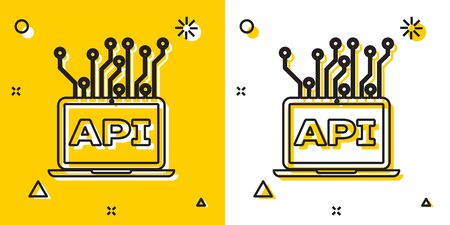 Black Computer api interface icon isolated on yellow and white background. Application programming interface API technology. Software integration. Random dynamic shapes. Vector Illustration Banque d'images - 129699279