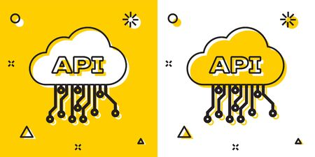 Black Cloud api interface icon isolated on yellow and white background. Application programming interface API technology. Software integration. Random dynamic shapes. Vector Illustration Banque d'images - 129699272