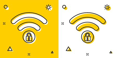Black Wifi locked sign icon isolated on yellow and white background. Password Wi-fi symbol. Wireless Network icon. Wifi zone. Random dynamic shapes. Vector Illustration  イラスト・ベクター素材
