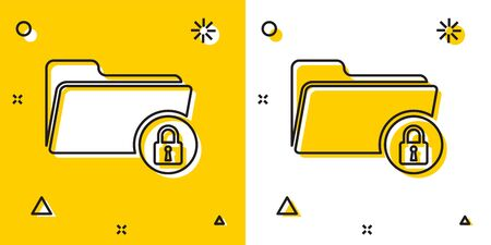 Black Folder and lock icon isolated on yellow and white background. Closed folder and padlock. Security, safety, protection concept. Random dynamic shapes. Vector Illustration