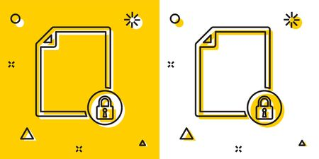 Black Document and lock icon isolated on yellow and white background. File format and padlock. Security, safety, protection concept. Random dynamic shapes. Vector Illustration Ilustracja