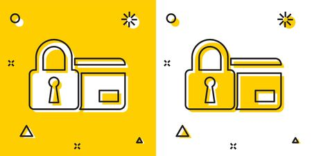 Black Credit card with lock icon isolated on yellow and white background. Locked bank card. Security, safety, protection concept. Concept of a safe payment. Random dynamic shapes. Vector Illustration