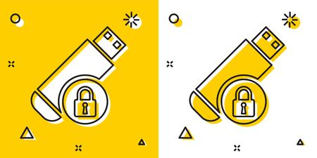Black USB flash drive with closed padlock icon isolated on yellow and white background. Security, safety, protection concept. Random dynamic shapes. Vector Illustration Ilustração