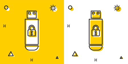 Black USB flash drive with closed padlock icon isolated on yellow and white background. Security, safety, protection concept. Random dynamic shapes. Vector Illustration Stock Illustratie