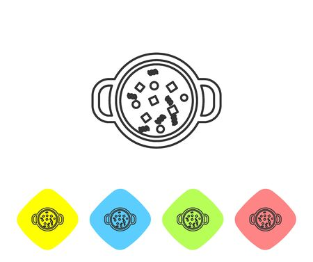 Grey line Cooking soup in pot icon isolated on white background. Boil or stew food symbol. Set icon in color rhombus buttons. Vector Illustration Illusztráció