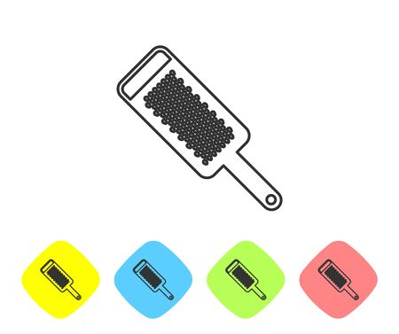 Grey line Grater icon isolated on white background. Kitchen symbol. Cooking utensil. Cutlery sign. Set icon in color rhombus buttons. Vector Illustration
