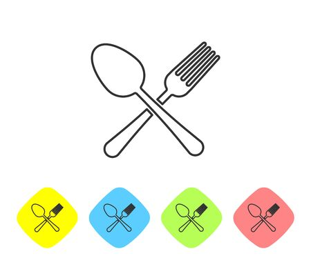 Grey line Crossed fork and spoon icon isolated on white background. Cooking utensil. Cutlery sign. Set icon in color rhombus buttons. Vector Illustration