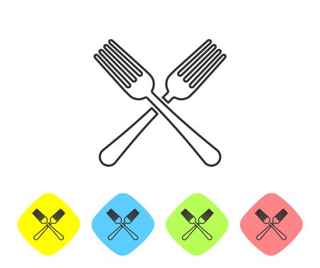 Grey line Crossed fork icon isolated on white background. Cutlery symbol. Set icon in color rhombus buttons. Vector Illustration