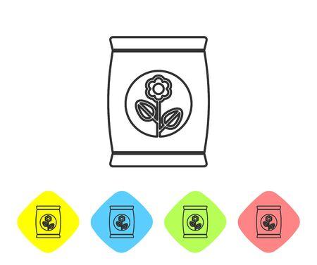Icône de sac d'engrais de ligne grise isolé sur fond blanc. Définir l'icône dans les boutons de losange de couleur. Illustration vectorielle