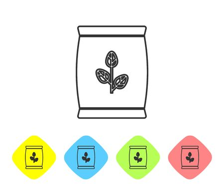 Grey line Fertilizer bag icon isolated on white background. Set icon in color rhombus buttons. Vector Illustration