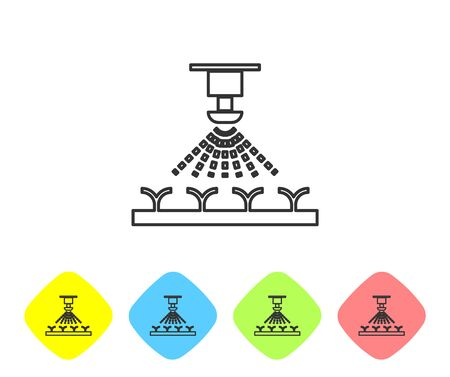 Grey line Automatic irrigation sprinklers icon isolated on white background. Watering equipment. Garden element. Spray gun icon. Set icon in color rhombus buttons. Vector Illustration Illusztráció
