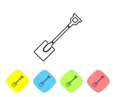 Grey line Garden shovel icon isolated on white background. Gardening tool. Tool for horticulture, agriculture, farming. Set icon in color rhombus buttons. Vector Illustration