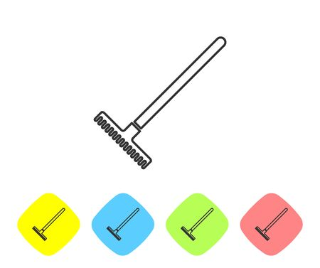 Grey line Garden rake icon isolated on white background. Tool for horticulture, agriculture, farming. Ground cultivator. Housekeeping equipment. Set icon in color rhombus buttons. Vector Illustration