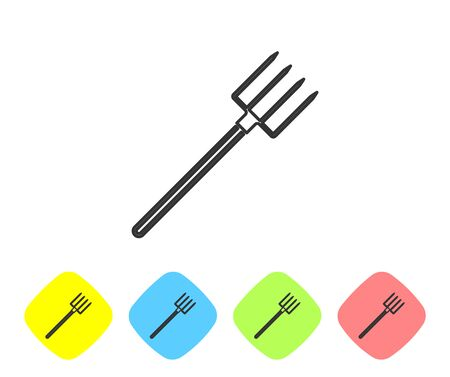 Grey line Garden pitchfork icon isolated on white background. Garden fork sign. Tool for horticulture, agriculture, farming. Set icon in color rhombus buttons. Vector Illustration