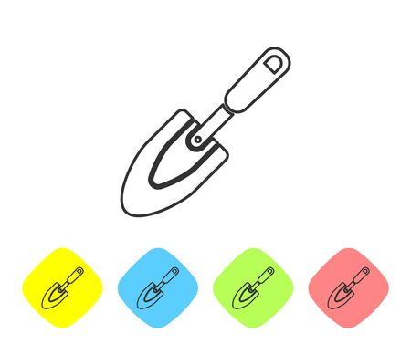 Grey line Garden trowel spade or shovel icon isolated on white background. Gardening tool. Tool for horticulture, agriculture, farming. Set icon in color rhombus buttons. Vector Illustration