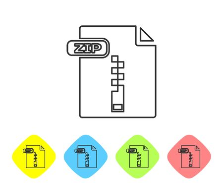 Grey line ZIP file document. Download zip button icon isolated on white background. ZIP file symbol. Set icons in color rhombus buttons. Vector Illustration Çizim