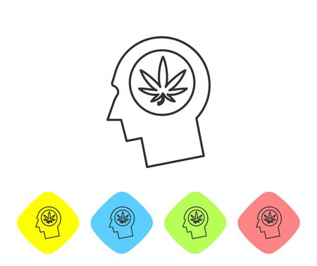 Grey line Silhouette of male head in profile with marijuana or cannabis leaf icon on white background. Marijuana legalization. Hemp symbol. Set icons in color rhombus buttons. Vector Illustration