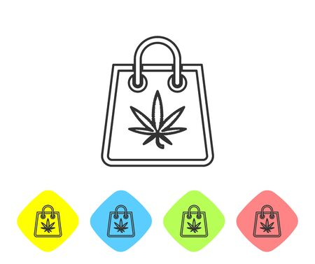 Grey line Shopping paper bag of medical marijuana or cannabis leaf icon isolated on white background. Buying cannabis. Hemp symbol. Set icons in color rhombus buttons. Vector Illustration