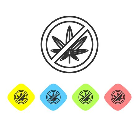Grey line Stop marijuana or cannabis leaf icon isolated on white background. No smoking marijuana. Hemp symbol. Set icons in color rhombus buttons. Vector Illustration