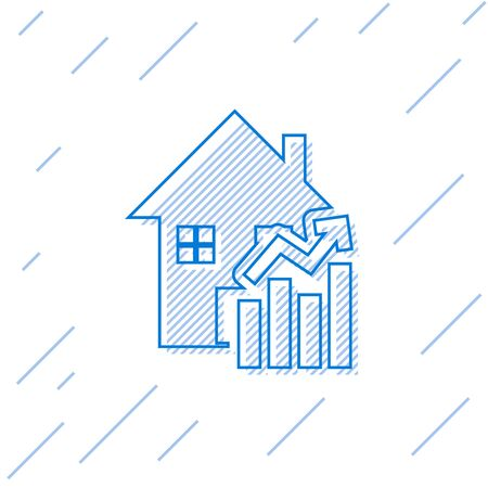 Blue line Rising cost of housing icon isolated on white background. Rising price of real estate. Residential graph increases. Vector Illustration