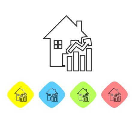 Grey line Rising cost of housing icon isolated on white background. Rising price of real estate. Residential graph increases. Set icons in color rhombus buttons. Vector Illustration Çizim