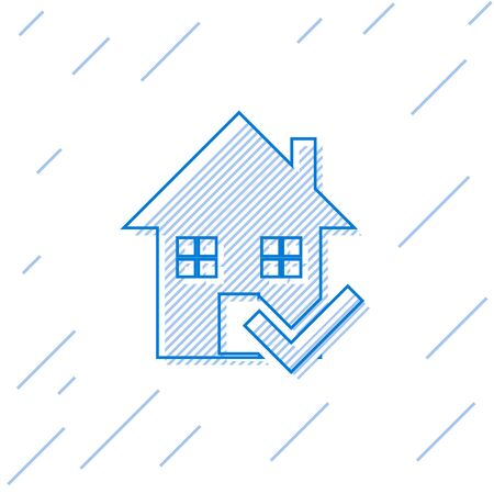 Blue line House with check mark icon isolated on white background. Real estate agency or cottage town elite class. Vector Illustration Illustration