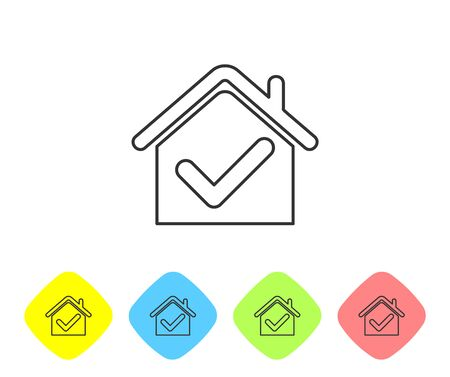 Grey line House with check mark icon isolated on white background. Real estate agency or cottage town elite class. Set icons in color rhombus buttons. Vector Illustration