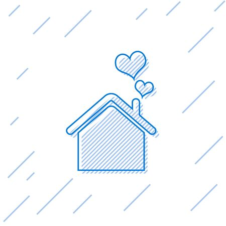 Blue line House with heart shape icon isolated on white background. Love home symbol. Family, real estate and realty. Vector Illustration Illustration