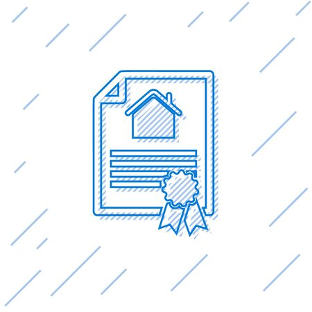 Blue line House contract icon isolated on white background. Contract creation service, document formation, application form composition. Vector Illustration
