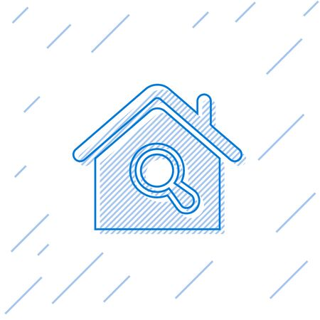 Blue line Search house icon isolated on white background. Real estate symbol of a house under magnifying glass. Vector Illustration Stok Fotoğraf - 129752291
