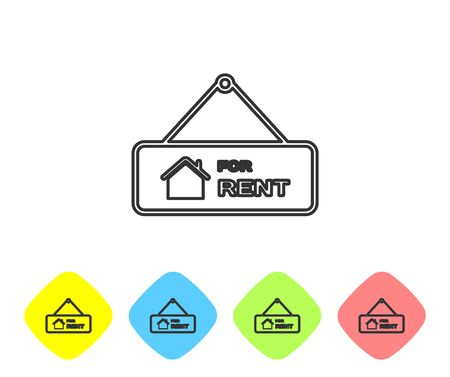 Grey line Hanging sign with text For Rent icon isolated on white background. Signboard with text For Rent. Set icons in color rhombus buttons. Vector Illustration