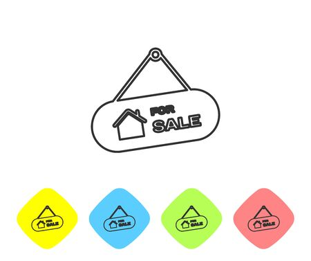 Grey line Hanging sign with text For Sale icon isolated on white background. Signboard with text For Sale. Set icons in color rhombus buttons. Vector Illustration