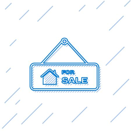 Blue line Hanging sign with text For Sale icon isolated on white background. Signboard with text For Sale. Vector Illustration