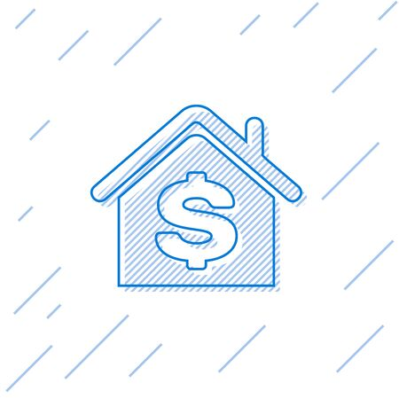 Blue line House with dollar symbol icon isolated on white background. Home and money. Real estate concept. Vector Illustration Stok Fotoğraf - 129758221