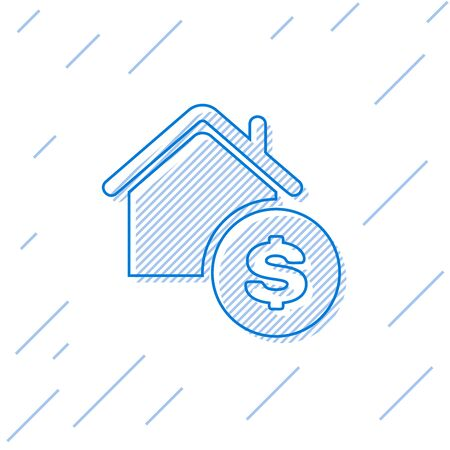 Blue line House with dollar symbol icon isolated on white background. Home and money. Real estate concept. Vector Illustration