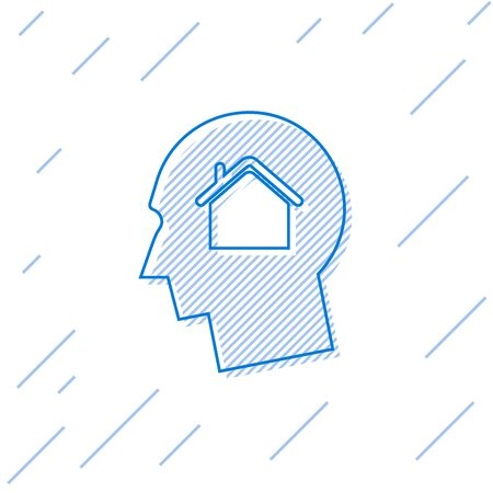 Blue line Man dreaming about buying a new house icon isolated on white background. Vector Illustration