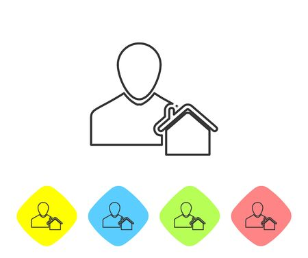 Grey line Realtor icon isolated on white background. Buying house. Set icons in color rhombus buttons. Vector Illustration