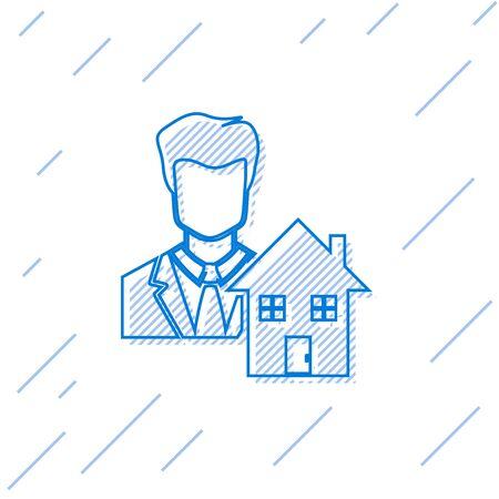 Blue line Realtor icon isolated on white background. Buying house. Vector Illustration